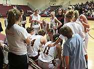 Coe head coach Randi Peterson talks to her team during a timeout in their Iowa Conference semifinal game at Eby Fieldhouse in Cedar Rapids on Thursday evening, February 23, 2012. Coe won 69-58. (Stephen Mally/Freelance)
