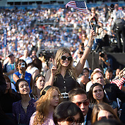 (L-R)  Actor Cash Warren, Actress Jessica Alba, and Entertainer Fergie on the fourth day of the Democratic National Committee (DNC) Convention at Invesco Field in Denver, Colorado (CO), Thursday, Aug. 28, 2008.  ..Photo by Khue Bui