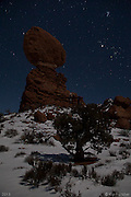 MoonShadow I. Balanced Rock, Arches National Park, Utah - 12/19/12.<br /> I've been in Moab for the end of the world...<br /> Twice...<br /> I spent New Year's Eve at the turn of the century in Canyonlands National Park for sunset, then the small town of Moab at midnight. There were some people who believed the end of the world would come that night. Y2K caused chaos would command computers around the world to send thousands of ICBM missiles heading towards every corner of the planet. It didn't happen of course and the sun rose the next day as it has for millennia.<br /> <br /> This cold, clear, moonlit night was the last full night of the Mayan calendar. The world didn't end and I left Moab a few days later with a couple of memorable shots and a sturdy resolve that if the world is ever destined to end again in my lifetime, all I have to do is go to Moab and patiently wait for the sun to rise again.