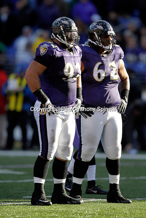 Baltimore Ravens defensive end Haloti Ngata (92) looks on with Baltimore Ravens nose tackle Terrence Cody (62) during the NFL week 8 football game against the Arizona Cardinals on Sunday, October 30, 2011 in Baltimore, Maryland. The Ravens came back in the second half to win the game 30-27. ©Paul Anthony Spinelli