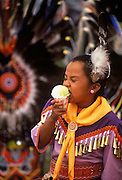 Image of Navajo girl at Pow-wow with snowcone in Window Rock, Arizona, American Southwest