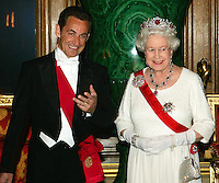 President Nicolas Sarkozy of France and Queen Elizabeth ll  arrive for a State Banquet at Windsor Castle on March 26, 2008..