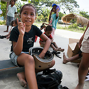 "BA Futuru means ""for the sake of the future"" in Tetun, the national language in Timor Leste. BA Futuru grew out of the fightings in 2006 where civil unrest and infighting between police and army caused massive damages and thousands of killed. BA Futuru wants to prevent future conflicts through training children, youths and authorities like staff at schools and police in conflict resolution. Children off on their skate boards at the Peace Centre, a play group / workshop run by Ze Henrique."