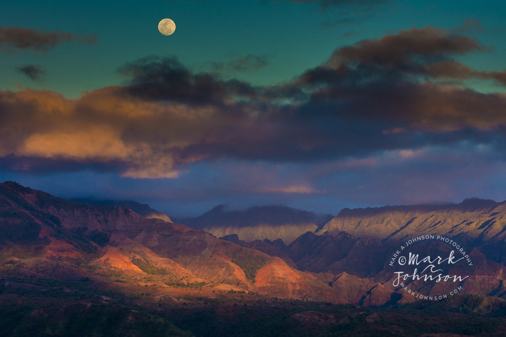 Full moon rising over Waimea Canyon, Kauai, Hawaii