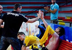 Coach of Gorenje Ivica Obrvan and Adnan Harmandic after handball match of MIK 1st Men league between RD Slovan and RK Gorenje Velenje, on May 16, 2009, in Arena Kodeljevo, Ljubljana, Slovenia. Gorenje won 27:26. (Photo by Vid Ponikvar / Sportida)