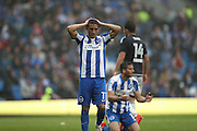 Brighton & Hove Albion winger Anthony Knockaert (11) looks frustrated, looks dejected during the EFL Sky Bet Championship match between Brighton and Hove Albion and Brentford at the American Express Community Stadium, Brighton and Hove, England on 10 September 2016.