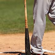 A baseball bat at home plate during the Bridgeport Bluefish V Southern Maryland Blue Crabs, Atlantic League, Minor League ballgame at Harbor Yard Ballpark, Bridgeport, Connecticut, USA. Photo Tim Clayton