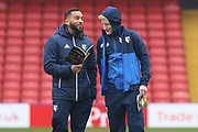 Watford defender Adrian Mariappa (6) & Watford midfielder Will Hughes (19) before kick-off at the Premier League match between Watford and West Bromwich Albion at Vicarage Road, Watford, England on 3 March 2018. Picture by Bennett Dean.