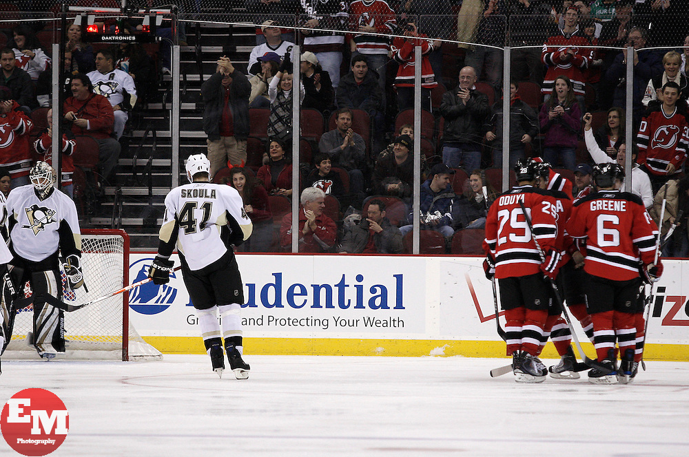 Dec 30, 2009; Newark, NJ, USA; The New Jersey Devils celebrate a goal by the New Jersey Devils right wing Niclas Bergfors (18) during the first period at the Prudential Center.