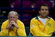 (L) Tony Roche trainer coach team of Australia during the BNP Paribas Davis Cup 2013 between Poland and Australia at Torwar Hall in Warsaw on September 15, 2013.<br /> <br /> Poland, Warsaw, September 15, 2013<br /> <br /> Picture also available in RAW (NEF) or TIFF format on special request.<br /> <br /> For editorial use only. Any commercial or promotional use requires permission.<br /> <br /> Photo by © Adam Nurkiewicz / Mediasport