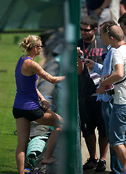LONDON, ENGLAND - Saturday, July 3rd, 2010: Lucie Safarova, girlfriend of Tomas Berdych (CZE), is interviewed by Czech media as he practices ahead of his Men's Singles Final on day twelve of the Wimbledon Lawn Tennis Championships at the All England Lawn Tennis and Croquet Club. (Pic by David Rawcliffe/Propaganda)