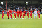 Dundee line up before kick off - Dundee v Manchester City  at Dens Park<br /> <br />  - &copy; David Young - www.davidyoungphoto.co.uk - email: davidyoungphoto@gmail.com