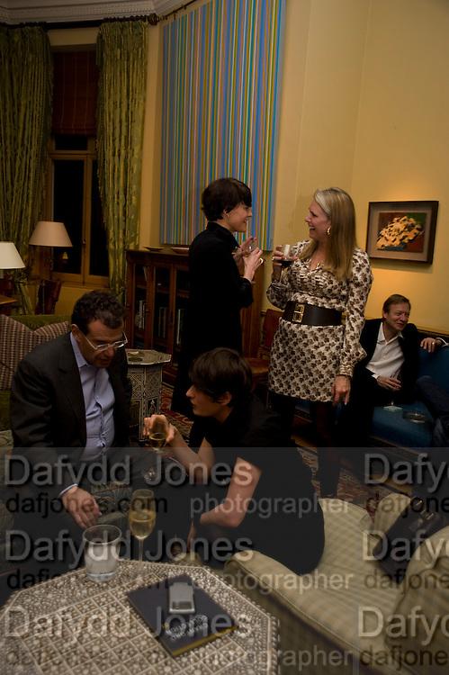 Anita Zabludowicz; Elizabeth Neilson, fff. Video instalation by Kutluk Ataman. Thomas Dane Gallery, Duke st. Afterwards at Ivor Braka's house. Chelsea. London. 12 March 2009
