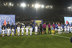 December 13, 2017 - Strasbourg, France - Line-up of PSG and Strasbourg player before the french League Cup match, Round of 16, between Strasbourg and Paris Saint Germain on December 13, 2017 in Strasbourg, France. (Credit Image: © Elyxandro Cegarra/NurPhoto via ZUMA Press)