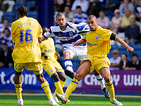 Photo: Leigh Quinnell.<br /> Queens Park Rangers v Southampton. Coca Cola Championship. 01/09/2007.<br /> QPRs Ben Sahar gets a shot past Southamptons  Jermaine Wright.