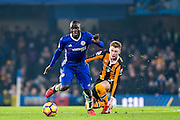 Chelsea midfielder Ngolo Kante (7), Hull City midfielder Sam Clucas (11) during the Premier League match between Chelsea and Hull City at Stamford Bridge, London, England on 22 January 2017. Photo by Sebastian Frej.