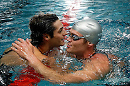 Second placed SCUW's Dominik MEICHTRY (R) of Switzerland congratulates his teammate Flori LANG to his victory, after competing in the men's 100m Freestyle Final at the Swiss Swimming Championships in Zurich (Zuerich) Oerlikon, Switzerland, Saturday, March 21, 2009. (Photo by Patrick B. Kraemer / MAGICPBK)