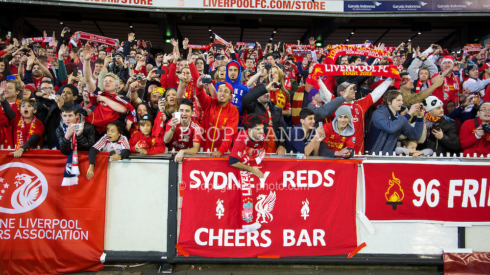 MELBOURNE, AUSTRALIA - Wednesday, July 24, 2013: Liverpool supporters after a preseason friendly match against Melbourne Victory at the Melbourne Cricket Ground. (Pic by David Rawcliffe/Propaganda)