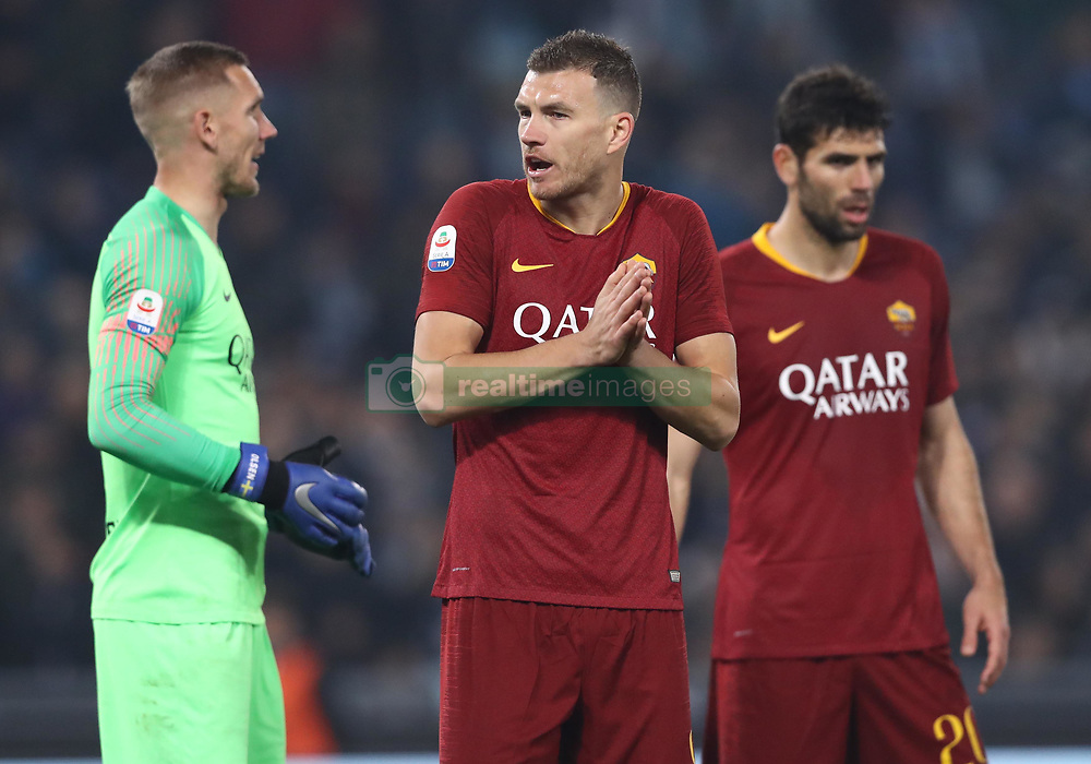 March 2, 2019 - Rome, Lazio, Italy - SS Lazio v As Roma : Serie A.Patrick Robin Olsen of Roma and Edin Dzeko of Roma at Olimpico Stadium in Rome, Italy on March 2, 2019. (Credit Image: © Matteo Ciambelli/NurPhoto via ZUMA Press)