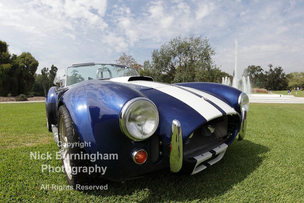 ARCADIA, CALIFORNIA, USA - OCTOBER 6, 2012. A car show of Cobras in the Arboretum in Arcadia on October 6, 2012.  The Shelby Cobra was an American-engined British sports car produced since 1962.  It was based on the British 1961 AC Ace-Bristol.