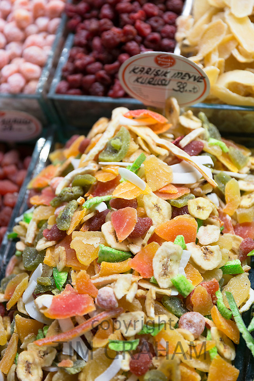 Dried fruits and sweetmeats in Misir Carsisi Egyptian Bazaar food and spice market in Istanbul, Turkey