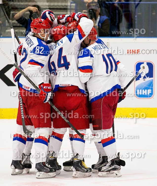 Players of Russia celebrate during Ice Hockey match between Russia and Norway at Day 1 in Group B of 2015 IIHF World Championship, on May 1, 2015 in CEZ Arena, Ostrava, Czech Republic. Photo by Vid Ponikvar / Sportida