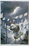 The Wandering Jew', c1901. Old, barefoot, bearded Jewish man in a storm, being rejected from from buildings flying flags of different nations. Anti-Semitism