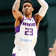 Reno Bighorns Guard MICHAEL BETHEA (23) shoots during the Western Conference Semi-Final NBA G-League Basketball game between the Reno Bighorns and the South Bay Lakers at the Reno Events Center in Reno, Nevada.