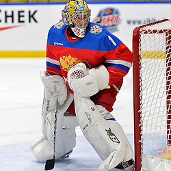 WHITBY, - Dec 17, 2015 -  Game #10 - United States vs. Russia at the 2015 World Junior A Challenge at the Iroquois Park Recreation Complex, ON.  Mikhail Berdin #1 of Team Russia during the second period.<br /> (Photo: Shawn Muir / OJHL Images)