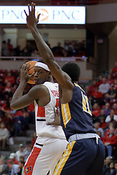 """09 December 2017:  Milik Yarbrough looks for a way around Leroy """"Shaq"""" Buchanan during a College mens basketball game between the Murray State Racers and Illinois State Redbirds in  Redbird Arena, Normal IL"""