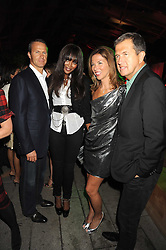 Left to right, VLADISLAV DORONIN, NAOMI CAMPBELL, HEATHER KERZNER and MARIO TESTINO at the annual Serpentine Gallery Summer Party in Kensington Gardens, London on 9th September 2008.