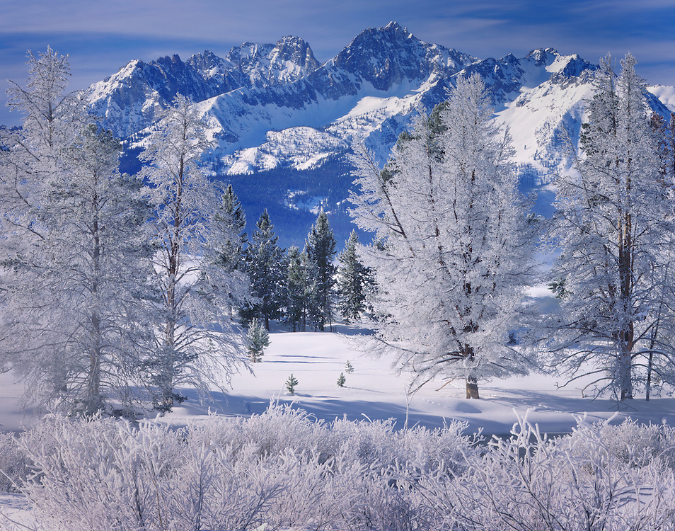 Winter in the Sawtooth Mountains Idaho USA
