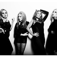 Claire Browne and the Bangin Rackettes. Camilla, Loretta Jones, Clairey Browne and Ruby Miller. Pictured in the Studio for a cover feature in The Weekly Review. 5.6.13. Picture by Shannon Morris