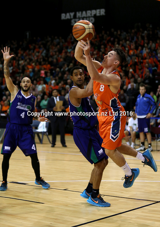 Derone Raukawa (R) of the Sharks tries to pass round Mika Vukona of the Rangers in the NBL basketball match between the Southland Sharks and Supercity Rangers, ILT Stadium Southland, Invercargill, Friday, May 27, 2016. Photo: Dianne Manson / www.photosport.nz