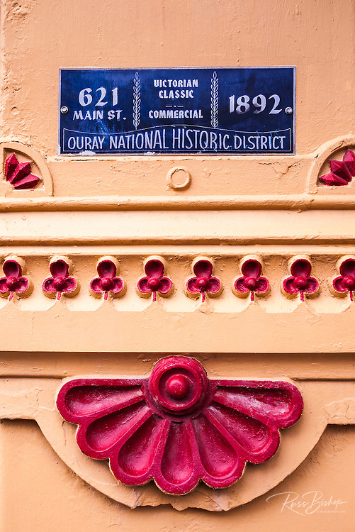 Victorian detail and historic plaque, Ouray, Colorado USA