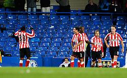 14.11.2010, Stamford Bridge, London, ENG, PL, FC Chelsea vs FC Sunderland, im Bild Asamoah Gyan (L) of Sunderland celebrates his goal.Chelsea v Sunderland.English Premiership,.Stamford Bridge, London. UK. .14/11/10,. EXPA Pictures © 2010, PhotoCredit: EXPA/ IPS/ Sean Ryan +++++ ATTENTION - OUT OF ENGLAND/UK +++++
