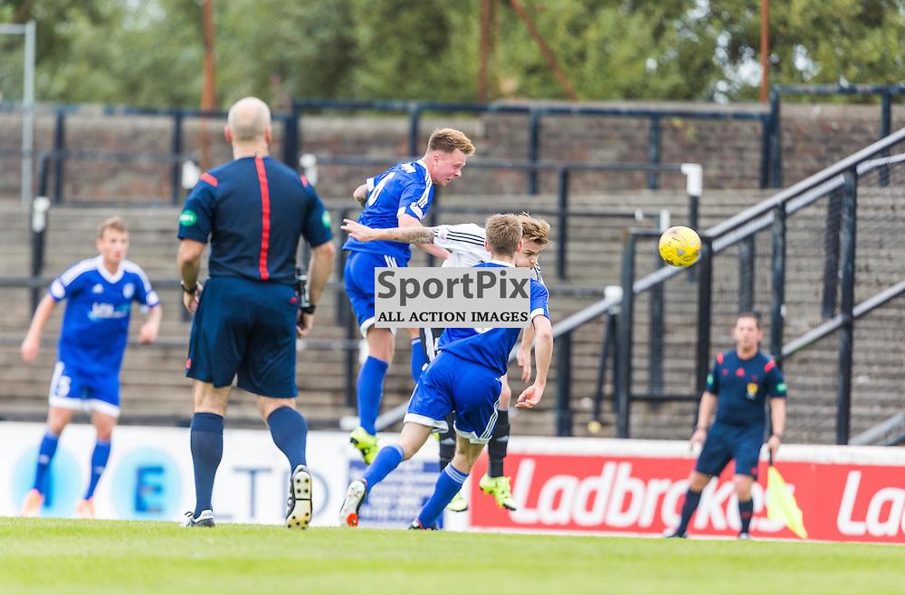Peter Murphy heads clear during the Scottish League 1 fixture between Ayr Utd and Peterhead (c) ROSS EAGLESHAM   Sportpix.co.uk