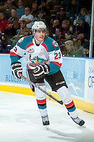 KELOWNA, CANADA -FEBRUARY 1: Justin Kirkland #23 of the Kelowna Rockets skates against the Kamloops Blazers on February 1, 2014 at Prospera Place in Kelowna, British Columbia, Canada.   (Photo by Marissa Baecker/Getty Images)  *** Local Caption *** Justin Kirkland;