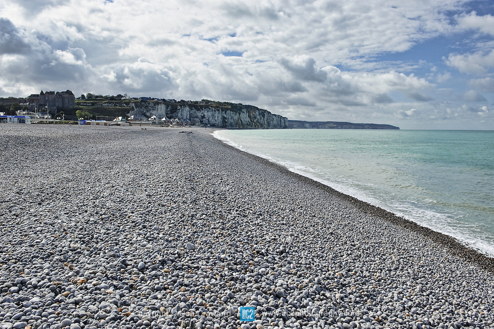 Dieppe Beach in Dieppe France. Scene of the Dieppe Raid. Known as The Battle of Dieppe, Operation Rutter or later on Operation Jubilee, during the Second World War, was an Allied attack on the German-occupied port of Dieppe on the northern coast of France on 19 August 1942. The assault began at 5:00 AM and by 10:50 AM the Allied commanders had been forced to call a retreat. Over 6,000 infantrymen, predominantly Canadian, were supported by large Royal Navy and Royal Air Force contingents. The objective was to seize and hold a major port for a short period, both to prove it was possible and to gather intelligence from prisoners and captured materials while assessing the German responses. The Allies also wanted to destroy coastal defences, port structures and all strategic buildings.
