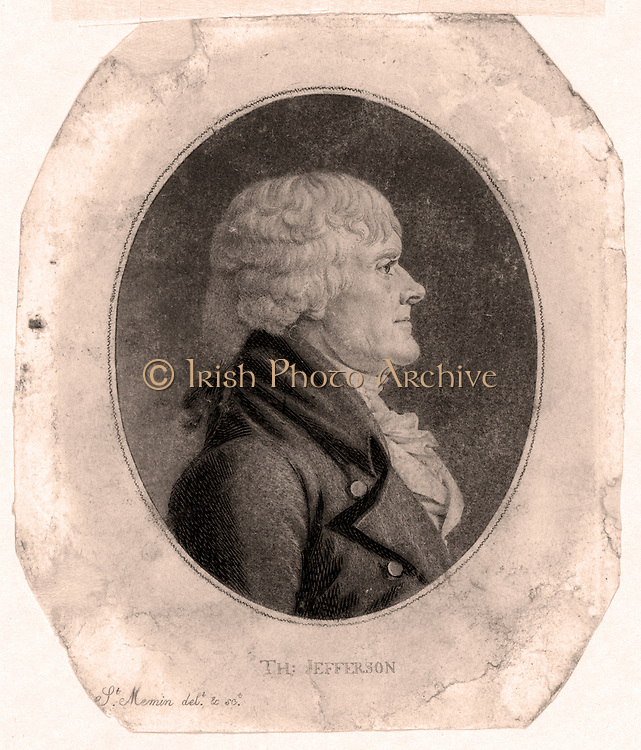 Thomas Jefferson (1743-1826) Third President of the United States 1801-1809. Lithograph  of Jefferson, standing, points to a copy of the American Declaration of Independence of which he was one of the authors. On left is a static electric machine.