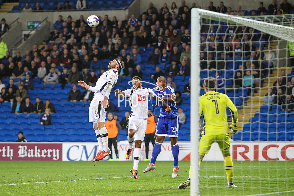Richard Keogh of Derby County clears the ball during the EFL Sky Bet Championship match between Cardiff City and Derby County at the Cardiff City Stadium, Cardiff, Wales on 27 September 2016. Photo by Andrew Lewis.
