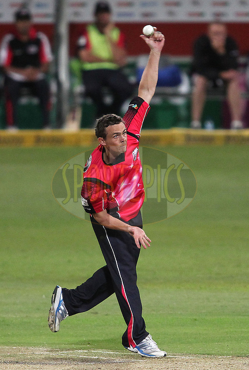 Stephen O'Keefe of the Sydney Sixers sends down a delivery during match 18 of the Karbonn Smart CLT20 South Africa between The Sydney Sixers and The Mumbai Indians held at Kingsmead Park in Durban, South Africa on the 22nd October 2012..Photo by Shaun Roy/SPORTZPICS/CLT20