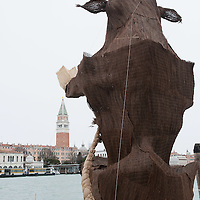 VENICE, ITALY - FEBRUARY 04:  A  view of the Grand Canal at Punta della Dogana facing  Saint  Mark's where amodel of a giant bull - the 2012 edition symbol -has been placed on February 4, 2012 in Venice, Italy. The Carnival of Venice (Carnevale di Venezia) is an annual festival and starts 40 days before Easter and ends on Shrove Tuesday ( Martedì Grasso).  (Photo by Marco Secchi/Getty Images)
