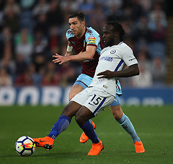 Stephen Ward of Burnley (L) and Victor Moses of Chelsea in action - Mandatory by-line: Jack Phillips/JMP - 19/04/2018 - FOOTBALL - Turf Moor - Burnley, England - Burnley v Chelsea - English Premier League