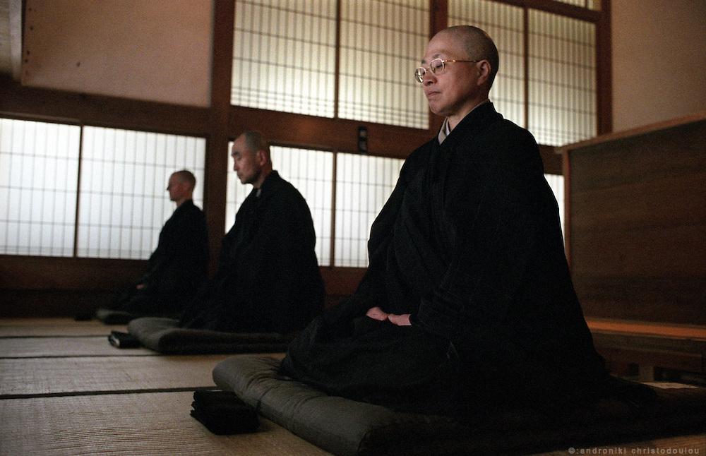 "LIVING ZEN - HOSHINJI MONASTERY, OBAMA-JAPAN..Monks in ""Zazen"" meditation position in the Zento"