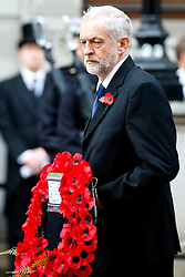 © Licensed to London News Pictures. 08/11/2015. London, UK. Leader of the opposition Jeremy Corbyn laying a wreath on the Cenotaph during Remembrance Sunday ceremony in Whitehall, London on Sunday, 8 November 2015. Photo credit: Tolga Akmen/LNP