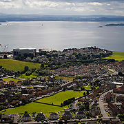 Early stages of the game seen from The Binn, a 600 foot high hill overlooking the town. Burntisland Shipyard v Colville Park, William Hill Scottish Cup First Preliminary Round, at The Recreation Ground, Burntisland, 12th August 2017.