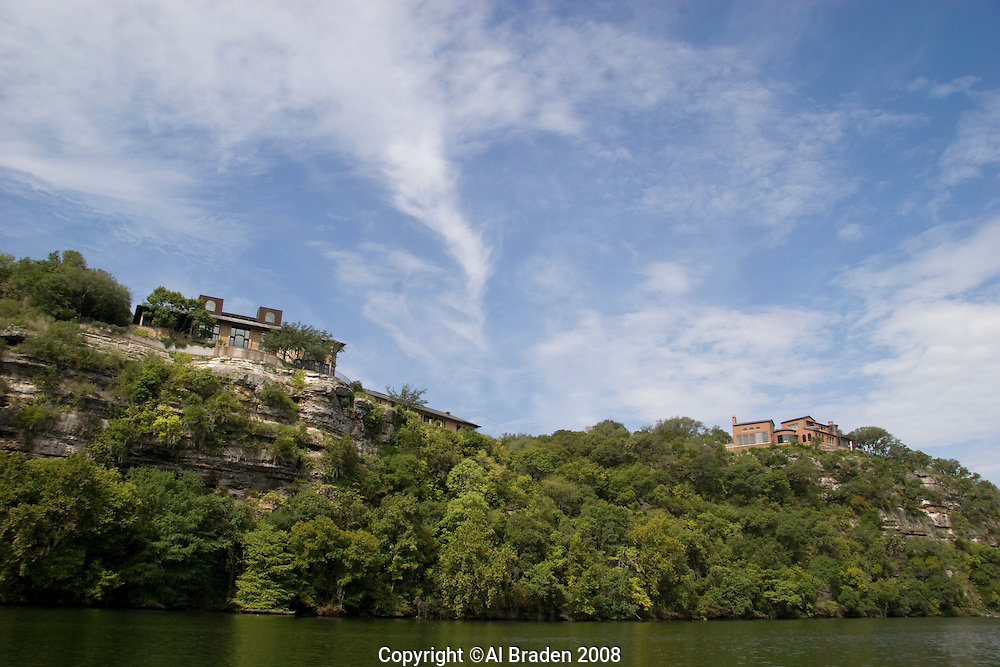 Luxury houses on Lady Bird Lake, Austin, Texas