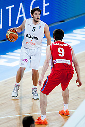 Sam Van Rossom #5 of Belgium vs Stefan Markovic #9 of Serbia during basketball match between National teams of Belgium and Serbia in 2nd Round at Day 8 of Eurobasket 2013 on September 11, 2013 in SRC Stozice, Ljubljana, Slovenia. (Photo By Urban Urbanc / Sportida)