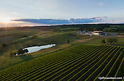 Aerial photography of Stone Tower winery in Leesburg, VA.